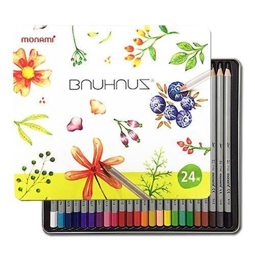 아이윙스 10000 모나미 바우하우스 색연필 틴케이스 24색