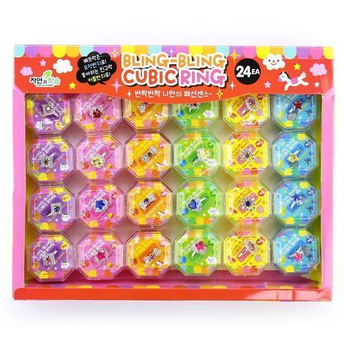 아이윙스 500 블링블링 큐빅링 우정반지 24개입 어린이 유아동 단체선물